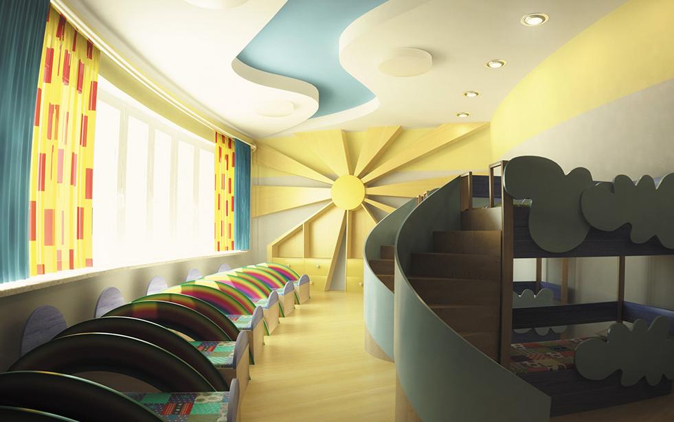 Необычный дизайн для спальни детского сада